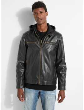 Zip Out Hood Faux Leather Jacket by Guess