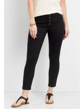 Denim Flex™ Black High Rise Button Fly Ankle Jegging by Maurices