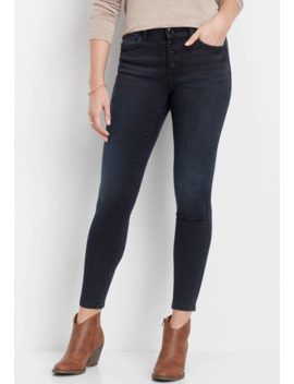 Denim Flex™ High Rise Indigo Button Fly Jegging by Maurices