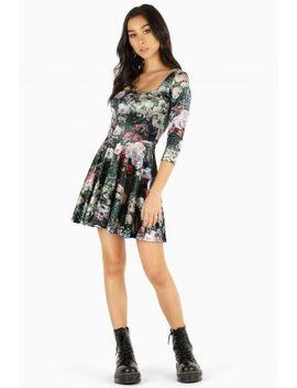 Take My Monet Velvet 3/4 Sleeve Squared Up Mini Skater Dress Bm Fit   Limited(Coming Soon) by Black Milk