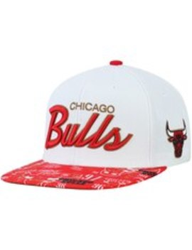 Chicago Bulls Mitchell & Ness 3 Peat Sport Script Snapback Adjustable Hat   White/Red by Mitchell & Ness