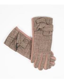 Beige & Tan Glen Check Plaid Bow Gloves by Unique Vintage