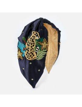 Leopard Embroidered Turban Headband   Navy by Orelia