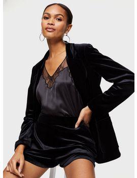 Black Velvet Button Shorts by Miss Selfridge