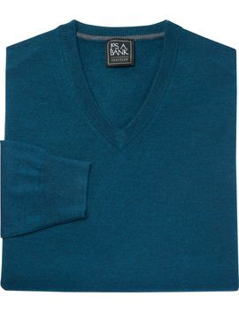 Traveler Collection Merino Wool V Neck Sweater  by Jos. A. Bank