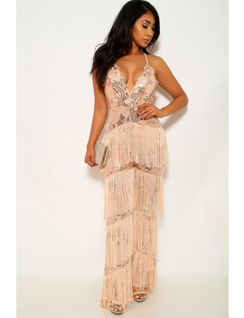Nude Sequin Sleeveless Fringe Jumpsuit by Ami Clubwear