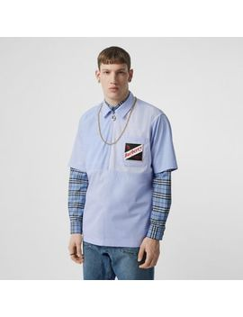 Short Sleeve Logo Graphic Patchwork Cotton Shirt by Burberry