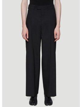 Straight Leg Pleated Pants In Black by Maison Margiela