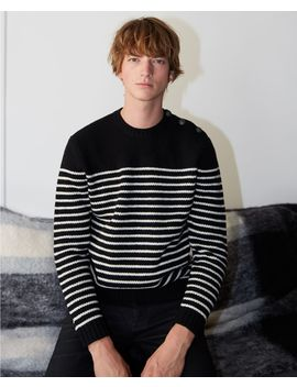 Black And Ecru Wool Striped Sweater by The Kooples