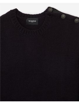 Round Neck Midnight Blue Wool Blend Sweater by The Kooples