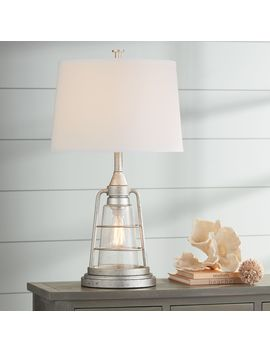 "Fisher Galvanized Metal 28 3/4"" High Nightlight Table Lamp by Lamps Plus"