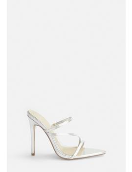 Silver Pointed Toe Triple Strap Heels by Missguided