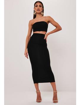 Black Bandeau Top And Midi Skirt Co Ord Set by Missguided