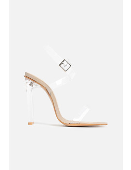 Paula Strappy Perspex Heels In Beige Vegan Leather by Luxe To Kill