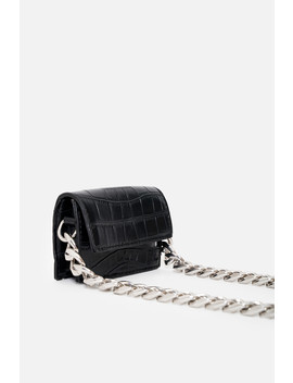 Black Vegan Croc Chunky Chain Bag by Luxe To Kill