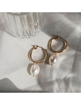 Kana Pearl Drop Hoop Earrings by Gldn