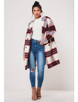White Check Brushed Formal Coat by Missguided