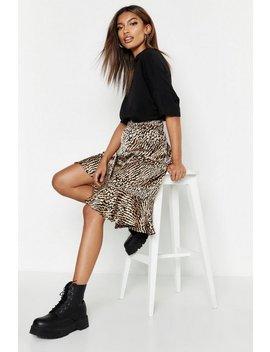 Ruffle Hem Tonal Animal Midi Skirt Ruffle Hem Tonal Animal Midi Skirt by Boohoo