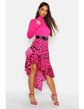 Leopard Print Ruffle Hem Midi Skirt Leopard Print Ruffle Hem Midi Skirt by Boohoo