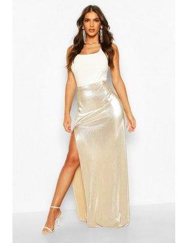 Metallic Plisse Thigh Split Maxi Skirt Metallic Plisse Thigh Split Maxi Skirt by Boohoo