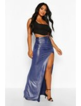 Glitter Jersey Ruched Extreme Split Maxi Skirt Glitter Jersey Ruched Extreme Split Maxi Skirt by Boohoo