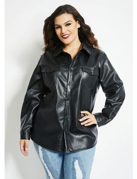 Faux Leather Button Up by Ashley Stewart