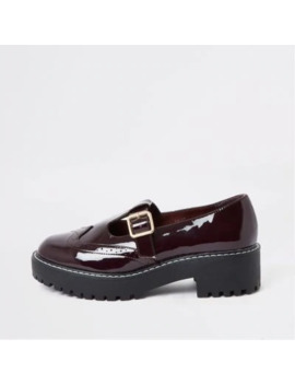Dark Red Patent Brogue Shoes by River Island