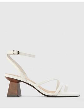 Kaiya White Leather Strappy Sculptured Heel Sandal by Wittner