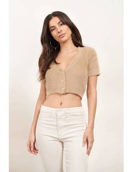 Warm And Fuzzy Tan Sweater Top by Tobi
