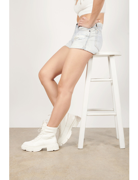 Prema White Faux Leather Combat Boots by Tobi