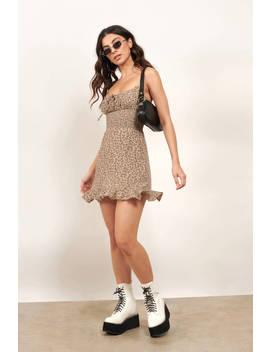 Timely Manner Brown Leopard Print Skater Dress by Tobi