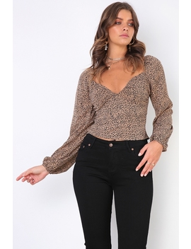 Fiona Top   Beige Print by Stelly