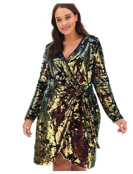 Joanna Hope Velour Wrap Sequin Dress by Simply Be
