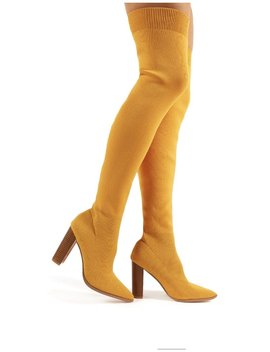 Romee Mustard Knitted Block Heeled Over The Knee Boots by Public Desire