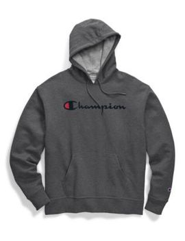 Champion Men's Powerblend® Pullover Hoodie, Script Logo by Champion