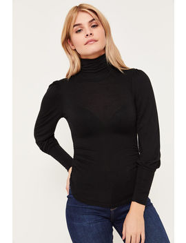 Ruched Mock Neck Top by Ardene