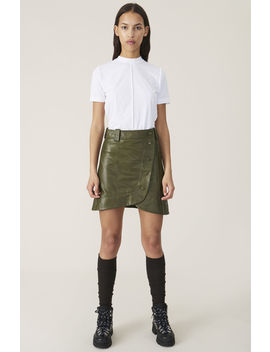 Lamb Leather Mini Skirt by Ganni