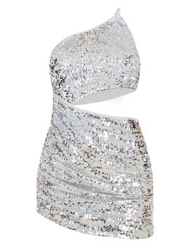 silver-sequin-one-shoulder-cut-out-ruched-bodycon-dress by prettylittlething
