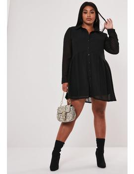 plus-size-black-dobby-smock-shirt-dress by missguided