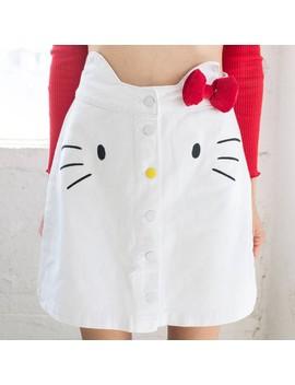 lazy-oaf-x-hello-kitty-women-denim-skirt-(white) by bait