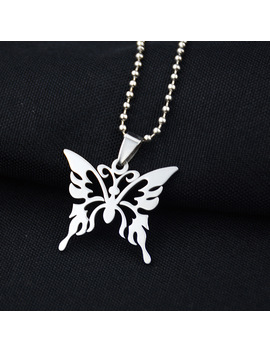 fashion-hollow-butterfly-stainless-steel-necklace-silver-chain-trendy-pendant-for-women-men-best-quality-cool-punk-party-jewelry by aliexpresscom