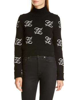 logo-embroidered-crop-wool-&-cashmere-sweater by fendi