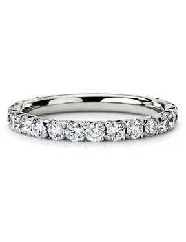 French Pavé Diamond Eternity Ring In 14k White Gold (1 Ct. Tw.) by Blue Nile