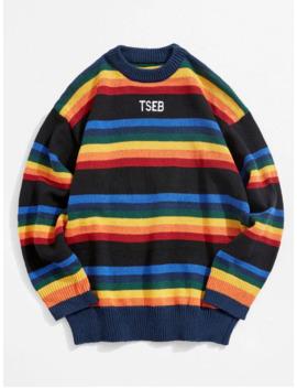 hot-salecolorful-stripes-embroidery-sweater---black-l by zaful