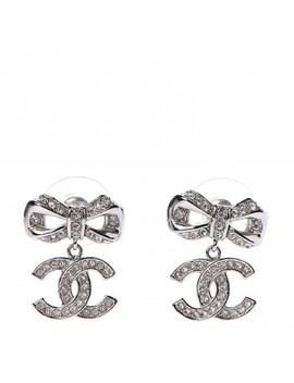 chanel-crystal-cc-bow-drop-earrings-silver by chanel