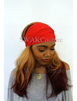yoga-headband-pineapple-wide-head-red-wrap-scarf-cotton-jersey-headband-womens-hair-wrap-workout-fitness-headband---choose-color by etsy