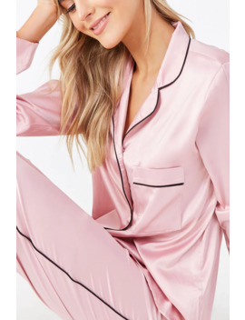 satin-shirt-&-pants-pj-set by forever-21