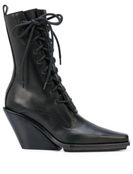 pointed-lace-up-ankle-boots by ann-demeulemeester