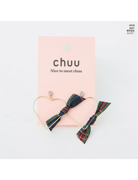 heart-with-check-ribbon-earring by chuu