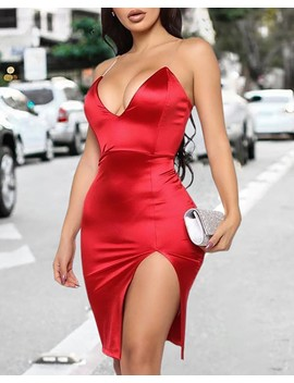 Solid Spaghetti Strap Slit Bodycon Dress by Chic Me